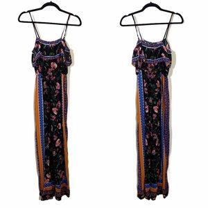FLYING TOMATO Black Tropical Floral Jumpsuit